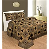 R & R Home Fashions Vintage Star Cotton Double Quilt With 2 Pillow Covers- Black