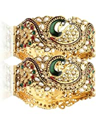 JDX Dancing Peacock Antique Gold Plated Bangles For Women