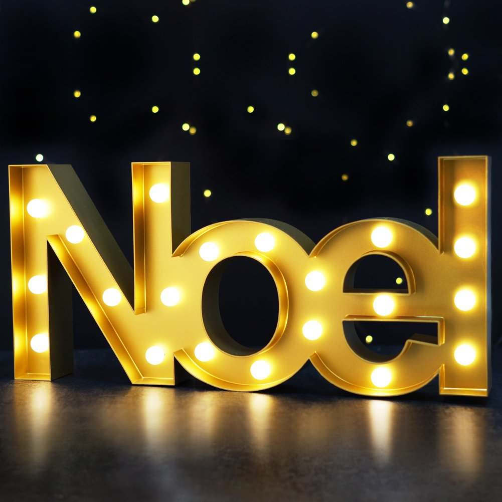 """BRIGHT ZEAL Christmas Marquee Sign """"Noel"""" with Lights ..."""