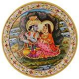 Shiva Enterprises Marble Decorative Plate With Radha Krishna Handmade Painting - (20 Cm X 20 Cm X 1.5 Cm)