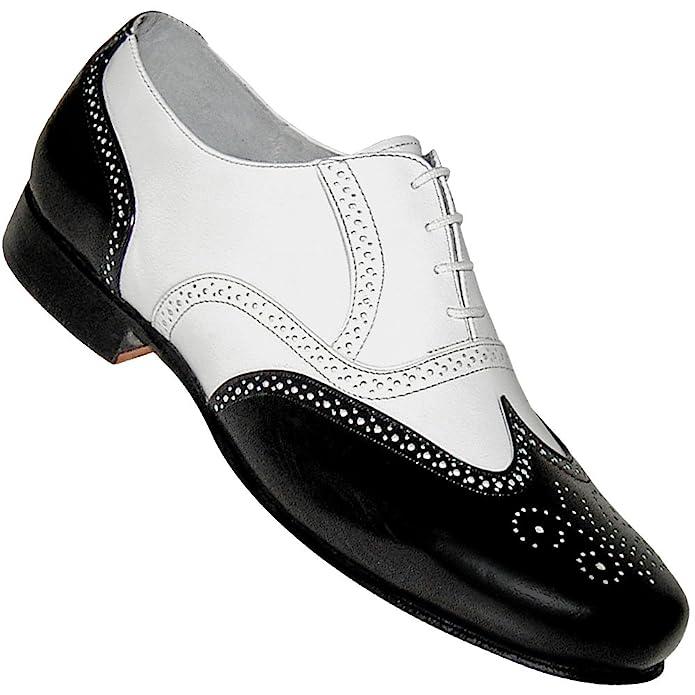 1920s Style Mens Shoes Mens 1930s Black and White Spat Style Wingtip Dance Shoe $79.95 AT vintagedancer.com