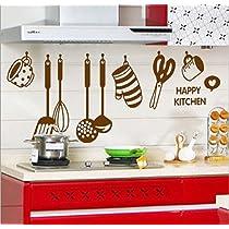 [LD] Decals Design 'Stylish Kitchen' Wall Sticker (PVC Vinyl, 60 cm x 45 cm, Brown)