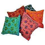 Ufc Mart Colorful Mirror Work Cushion Cover 5 Pc. Set, Color: Multi-Color, #Ufc00439