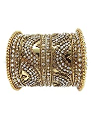 Aria Traditional CZ Gold Plated 6pc New Bangles For Women L33