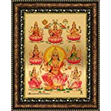 Avercart Goddess Laxmi / Shri Lakshmi / Laxmiji / Goddess Of Wealth / Laxmi With 8 Forms Of Her Poster 5x7 Inch With Photo Frame (13x18 Cm Framed)