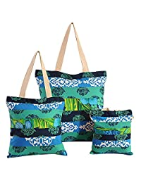 Multipurpose Shopping Bag Applique Patchwork, With Zipper Closing And Design Patches 3 Pcs Set, - B015GWPZF6