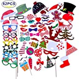 Bamos Photo Booth Props 62 Piece Diy Kit For Party Favors Children Adult Birthday Wedding Albums Party Decorations...