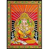 DollsofIndia Ganesha Sitting On Throne - Print On Cloth With Sequin Work - Unframed