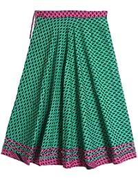 DollsofIndia Black Print On Cyan Green Cotton Long Skirt - Length 38 Inches - Green