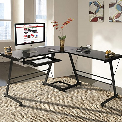 Best Choice Products L-Shape Computer Desk PC Glass Laptop Table Workstation Corner...