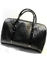 Knitting Pattern Black Leather Large Travel Bag Men Women Luggage Travel Bags Duffle Bag Maletas De Viaje Sac De Voyage