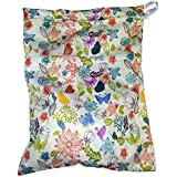 Heart Felt Diaper Wet Bag With Floral Print. Two Compartments Mean Storage For Clean And Dirty Diapers, Incontinence...