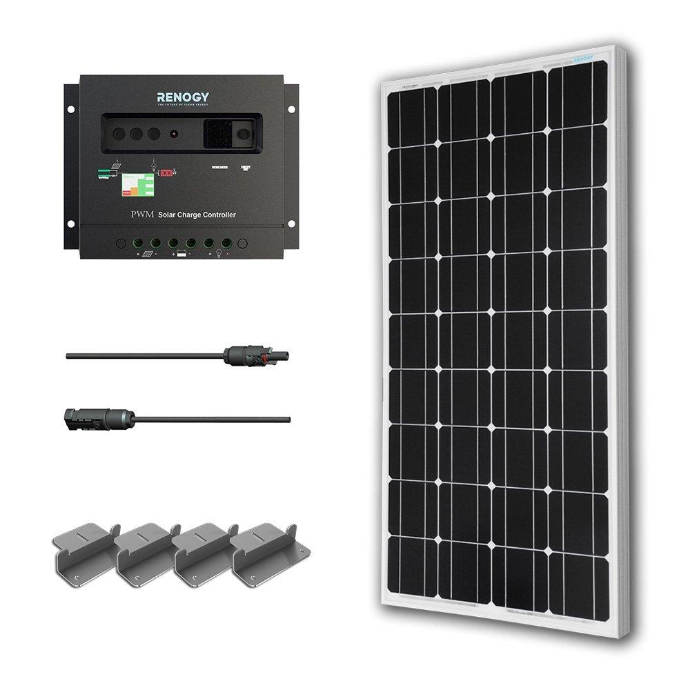 Renogy 100W Mono Starter Kit: 100W Solar Panel+20' Solar Cable+30A PWM Charge Controller+Z Bracket Mounts