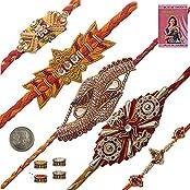 Indiangiftemporium Charming Gift To Brother Five Jaipuri Rakhi Set Rakhi Raksha Bandhan Gift Band Moli Bracelet...