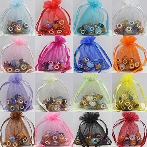 Assorted Colors Organza Gift Bags, pack of 100, 4 x 5