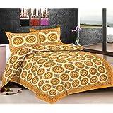 Viskar Fab Tex Rajasthani Hand Block Printed Jaipuri Cotton Double Bedsheet With 2 Pillow Covers Infinite Medallion...