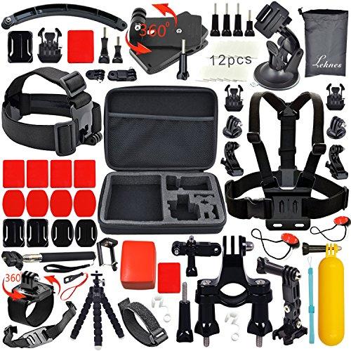 Leknes Lot de 52 accessoires professionnels pour GoPro Hero4 /3,gopro3/2/1,Extrêmes Mécaniques Accessories pour GoPro Hero4 Hero3+ Hero3 Hero2 Noire ...