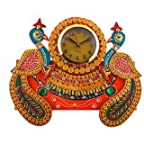 Nandini Art And Craft Gallery's Handmade Paper Mache Clock With 2 Peacocks