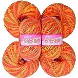 Vardhman Acrylic Knitting Wool, Pack Of 6 (Multi Orange) No.283 (Pack Of 6)