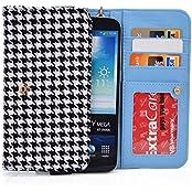 Black Houndstooth Womens Smartphone Wallet With Hand Strap For Samsung Galaxy J7, Mega 2, Mega 5.8 6.3 Smartphone...
