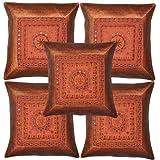 Home Decor Designer Mirror Embroidery Silk Cushion Cover17 Inches Set 5 Pcs