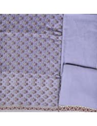 Exotic India Wisteria-Blue Salwar Kameez Banarasi Handloom Fabric With Wo - Blue