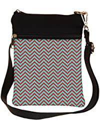 Snoogg Green And Red Strips Cross Body Tote Bag / Shoulder Sling Carry Bag