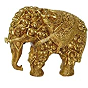 Hand Curved Metal Brass Elephant Royal Statue With Engraved Lady Figures By Hand( 15inch Long And 12 Inch Height)