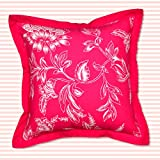 Bright Floral Print In Pink And Beige Cotton Cushion Cover That Can Be Used On Either Side