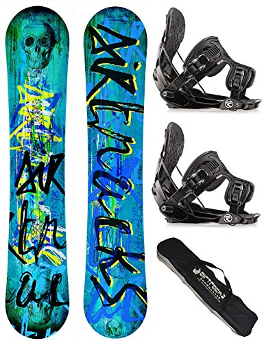 AIRTRACKS SNOWBOARD SET / SKULL SNOWBOARD WIDE ROCKER + SOFTBINDUNG FLOW FIVE + SB BAG / 150 153 158 / cm