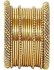 JDX Traditional Wedding Gold-Plated Bangles Bracelets Set For Women Size 2.6