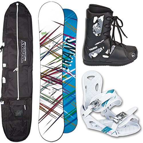 TRANS Snowboard SET STYLE Girl 152cm white 2015 + Eco Bindung Gr. M + Boots + Bag