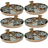 Dakshcraft ® Large Dinnerware Stainless Steel Copperware Thali, Set Of 6 With 6 Thali, 6 Spoons, 6 Tumblers, 18...