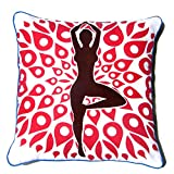 Homeblendz Cotton Printed Yoga Standing Design White, Red And Brown 40x40 Cushion Cover