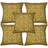 Lalhaveli Indian Cotton Decor Cushion Cover Adorn With Hand Embroidery & Zari Work 16 X 16 Inches