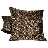 Ufc Mart Golden Jacquard Silk Cushion Cover 2 Pc. Set, Color: Golden, #Ufc00489