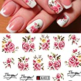 Fashion Rose Flower Nail Art Water Transfer Stickers Nails By DALUCI (1 Sheet)