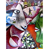 Tallenge Modern Masters Collection - I And The Village By Marc Chagall - A3 Size Premium Quality Rolled Poster