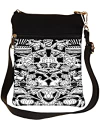 Snoogg Black And White Feast Cross Body Tote Bag / Shoulder Sling Carry Bag