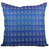 Svisti Raw Silk Single Piece Cushion Cover-Blue, 40.64 Cm X 40.64 Cm - B00N3NZMLS