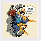 ArtzFolio Success Businessman Hero Pop Art - Micro Size 7.0 Inch X 7.0 Inch - PREMIUM CANVAS Wall Paintings With WHITE FRAME : DIGITAL PRINT Wall Posters Art Panel Like Hand Paintings : Home Interior Wall Décor Photo Gifts & Decorative Painting