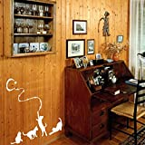 Four Cats Playing With Moon And Stars Transfer White Wall Decal For Kids Room
