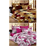 Story@Home 120 TC 100% Cotton Set Of 2 Double Bedsheet With 4 Pillow Cover Brown & Hot Pink