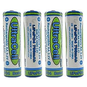 Amazon.com: (4-Pack) Ultracell 3.2V LiFePo4 14500 AA