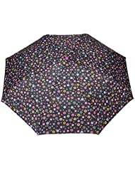 FabSeasons Black, Geometric Printed, 3 Fold Fancy Automatic Umbrella For All Weather