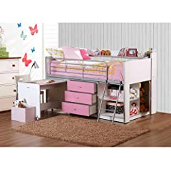 Pink and White Kids Loft Bed with Storage and Work Desk Twin Size Childrens Teens Bedroom Furniture ON SALE! Lofted Girls Beds Are a Great Place to Sleep and Fit in with Any Decor. Spacious Cabinet with Adjustable Shelves 3 Draws and Safety Rails