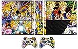 MightyStickers DBZ Dragon Ball Z Super Saiyan Goku Gogeta Protective Vinyl Designer Skin Sticker for Microsoft Xbox 360 Game Console E Slim System (Vertical) and 2 Wireless Controller Wrap Skins