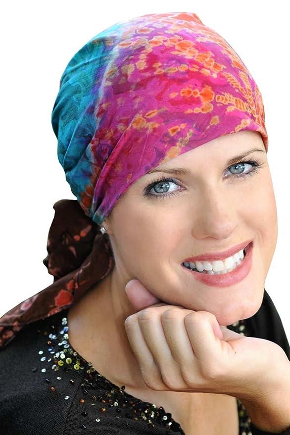 Cotton Batik Tie Dye Head Scarf for Women with Cancer, Chemo, Hair Loss - Sunburst Tie Dye - Multi