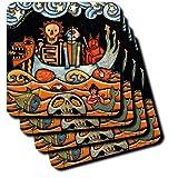 3dRose Cst_21127_1 The Devil S Dream Folk Art Skulls Mexican Colorful Surrealism Soft Coasters, Set Of 4