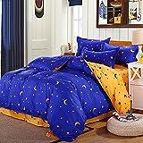 Uxcell Moon Stars Duvet Cover Pillowcase Quilt Cover Bedding Set Queen Blue
